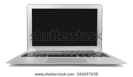 Laptop with mail icon. Email contact concept. - stock photo