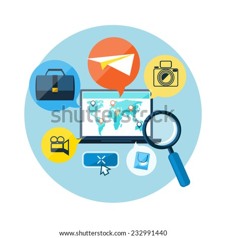 Laptop with map pointers on world map. Digital tablet surrounded symbols of delivery, add to bag, payment methods, savings. Online shopping, e-commerce, delivery, payments. Raster version - stock photo