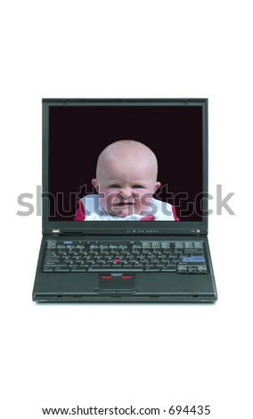Laptop with message option - stock photo