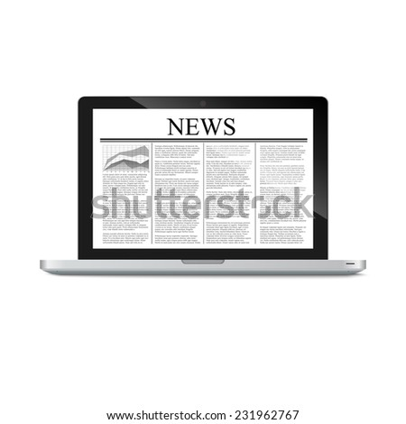 laptop with news article on screen isolated on white.