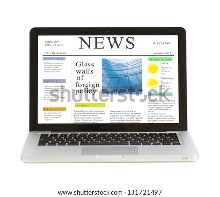 Laptop with news site  isolated on white background, copy space on display