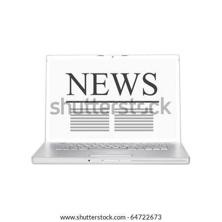 Laptop with online news - stock photo