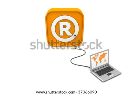 laptop with orange world map connected with an orange cable to the orange 3D RSS like Registered Trademark symbol - front view