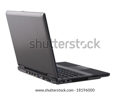 Laptop with path isolated on a White background.