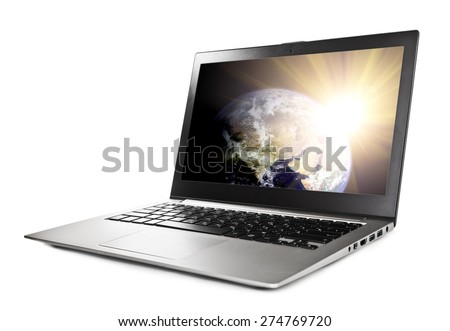Laptop with planet on screen,  Elements of this image furnished by NASA - stock photo