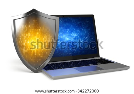 Laptop with Protection Shield - Computer security, antivirus, firewall concept  - stock photo