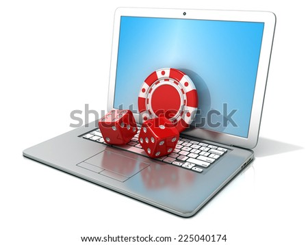 Laptop with red dice and chip. 3D rendering - concept of online gambling. Isolated on white background - stock photo