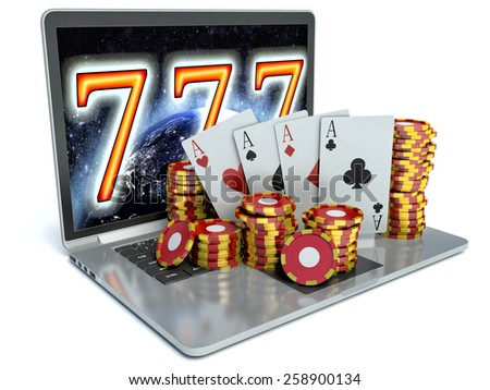 Laptop with red, green and black chips. 3D rendering - concept of online gambling - stock photo