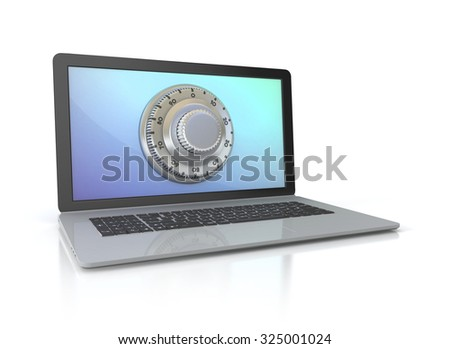 laptop with safe lock - data security 3d illustration