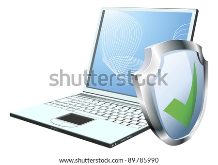 Laptop with shield tick icon. Concept for internet security or antivirus or firewall etc. - stock photo