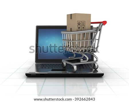 Laptop with Shopping Cart and Cardboard Boxes  - High Quality 3D Render
