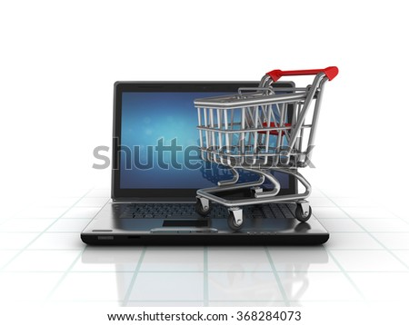 Laptop with Shopping Cart  - High Quality 3D Render