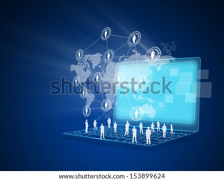 Laptop with social network on world map - stock photo