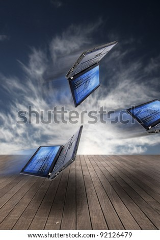 Laptop with source code - stock photo
