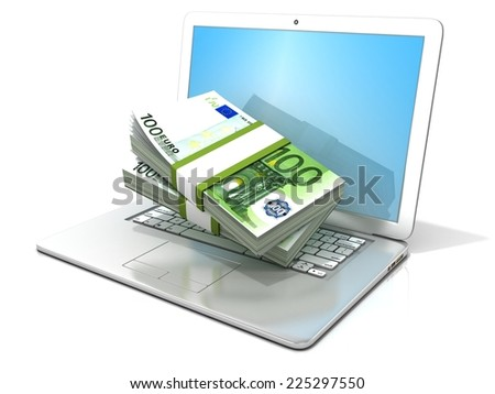 Laptop with stacks of hundreds euros . 3D rendering -  concept of online business - earning, banking and shopping. Isolated on white background  - stock photo