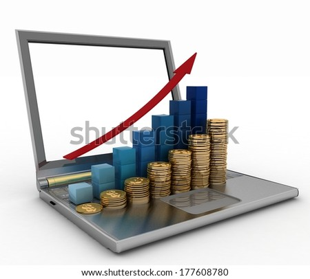 Laptop with statistic charts. 3d render illustration on white background - stock photo