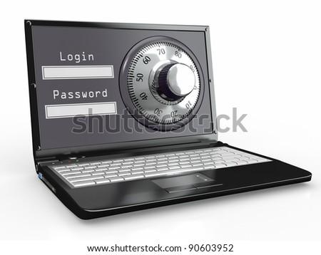 Laptop with steel security lock. Password. 3d - stock photo