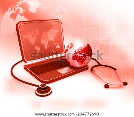 Laptop with  Stethoscope and globe, global medical concept  - stock photo