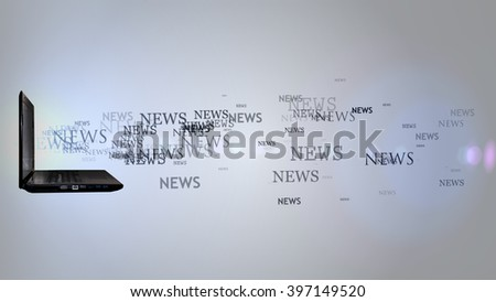 Laptop with the word news. Lots of news flying out of laptop - stock photo