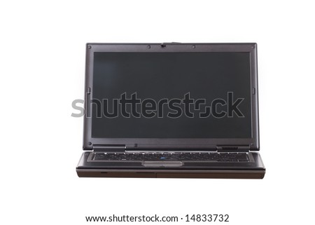 Laptop with two clipping paths for screen and laptop outline - stock photo