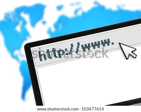 laptop with web browser over world map - stock photo