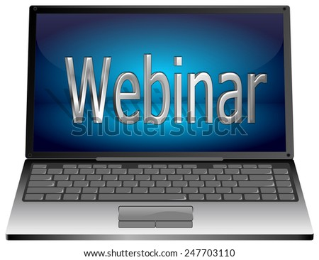 Laptop with webinar - stock photo