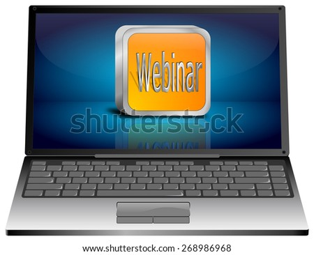 Laptop with webinar button - stock photo