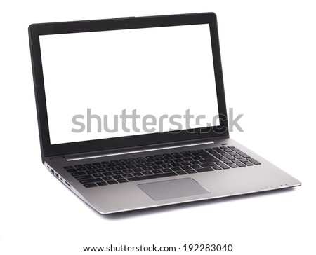 Laptop with white blank screen. Isolated on a white background.