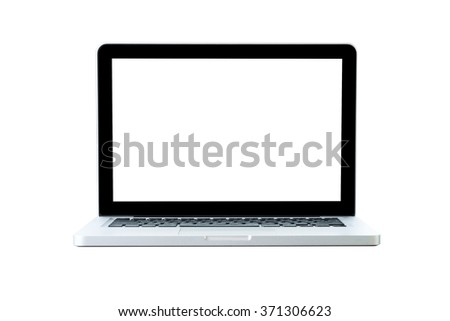 Laptop with white blank screen on an isolated white background.