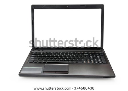 laptop with white monitor on a white background isolated