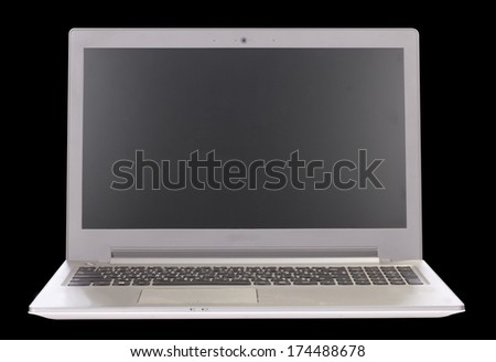 Laptop with white screen. Isolated on black background