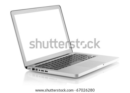 Laptop with white screen. Isolated on white background - stock photo