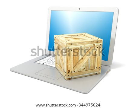 Laptop with wooden box package. Concept of online ordering of products. Side view. 3D render illustration isolated on white background - stock photo
