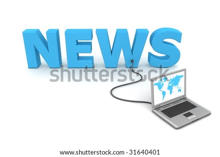 laptop with world-map connected to the 3D word NEWS - stock photo