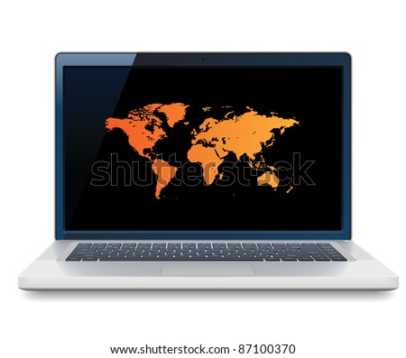 Laptop with World map on screen. Raster version. Vector version is also available.