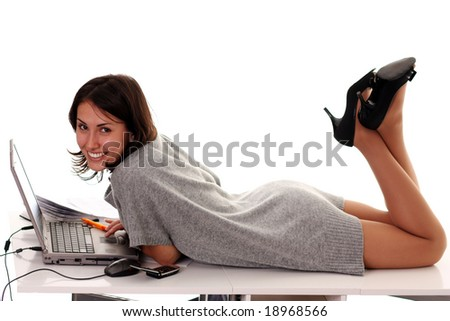 laptop woman - stock photo