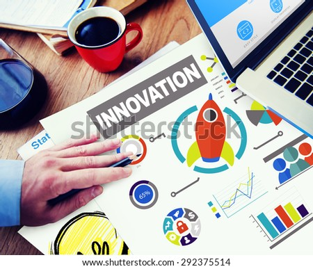 Laptop Working Creativity Growth Success Innovation Concept - stock photo
