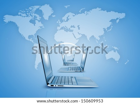 Laptops against world map background. Connection and cooperation