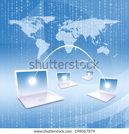 Laptops against world map background. Connections and network - stock photo