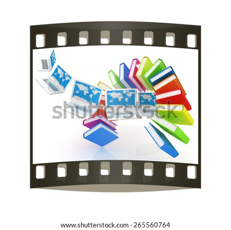 Laptops and books flying on a white background. The film strip - stock photo