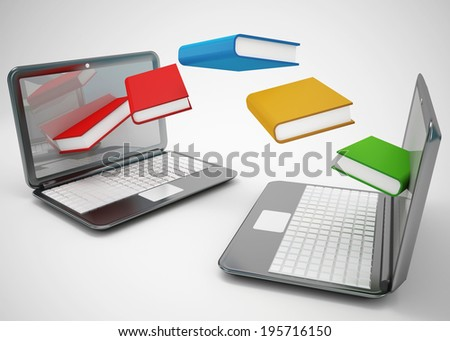 laptops and flying books