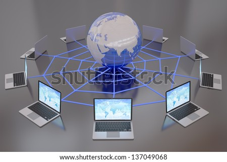 Laptops connected to the Internet World Wide Web - stock photo