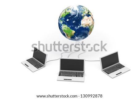 Laptops connected to world, internet concept - stock photo