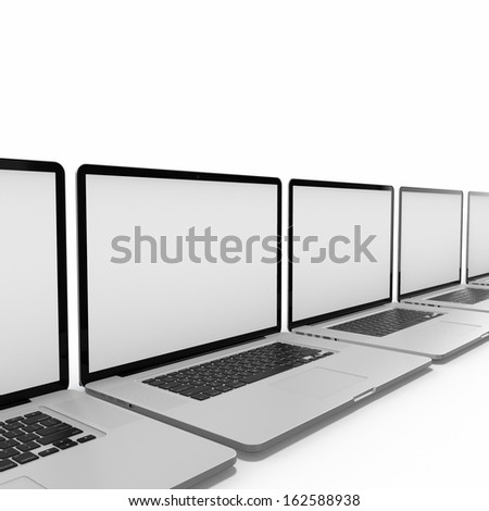 Laptops in a row