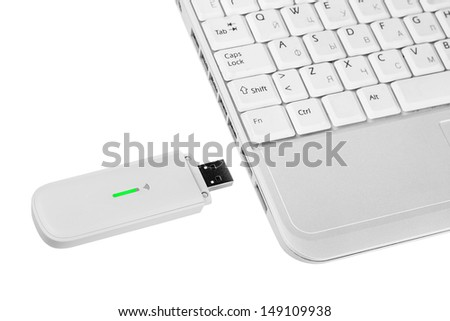 Laptops with 3g modem - stock photo