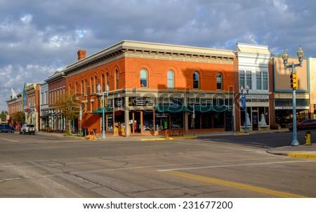 LARAMIE, WY, USA â?? SEPTEMBER 28: Quiet Sunday morning on September 28, 2014 in historic downtown Laramie. - stock photo