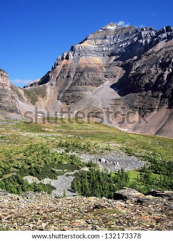 Larch Valley, Temple Mountain and Sentinel Pass (left) Lake Louise, Banff National Park, Alberta, Canada - stock photo