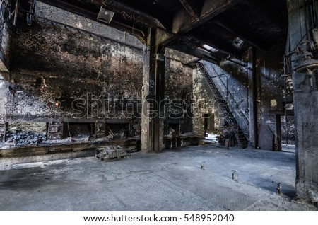 large abandoned building of factory foundry