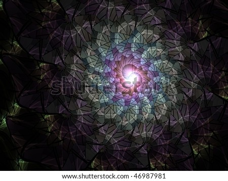Large abstract rendering, extremely detailed, looks like stained glass - stock photo