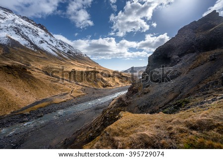 Large amazing mountains of Iceland scenic shot - stock photo